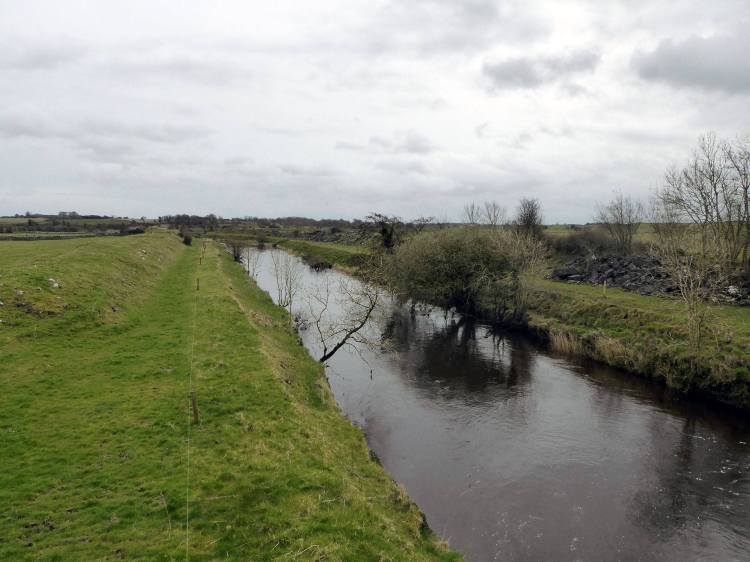 Channelised River Clare at Kilcreevanty, Co Galway.