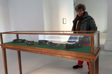 Declan O'Mahony ('River Runner') views the severed eel in Mark Dion's exhibition 'Against the Current' in Ormston House, Limerick, November 2015. That thousands of silver eels are killed by the ESB's hydroelectric turbines on the Shannon is so well known that it is being reflected in Limerick city's art exhibitions.