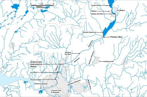 Map of the Lower River Shannon showing the location of Ardnacrusha hydroelectric station and Parteen Regulating Weir (click to enlarge).